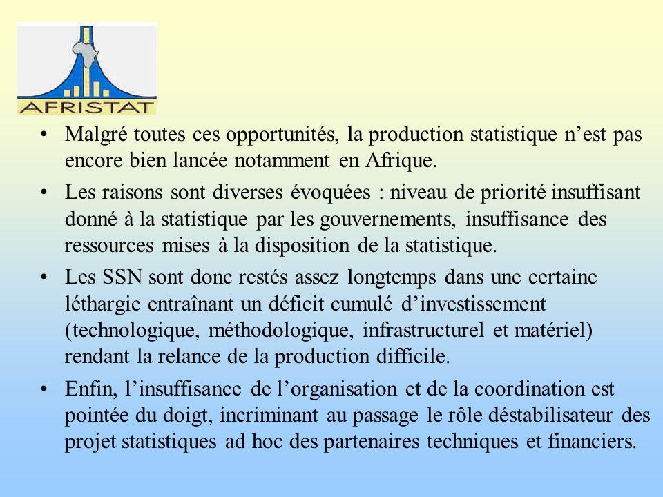 Malgré toutes ces opportunités, la production statistique nest pas encore bien lancée notamment en Afrique. Les raisons sont diverses évoquées : nivea