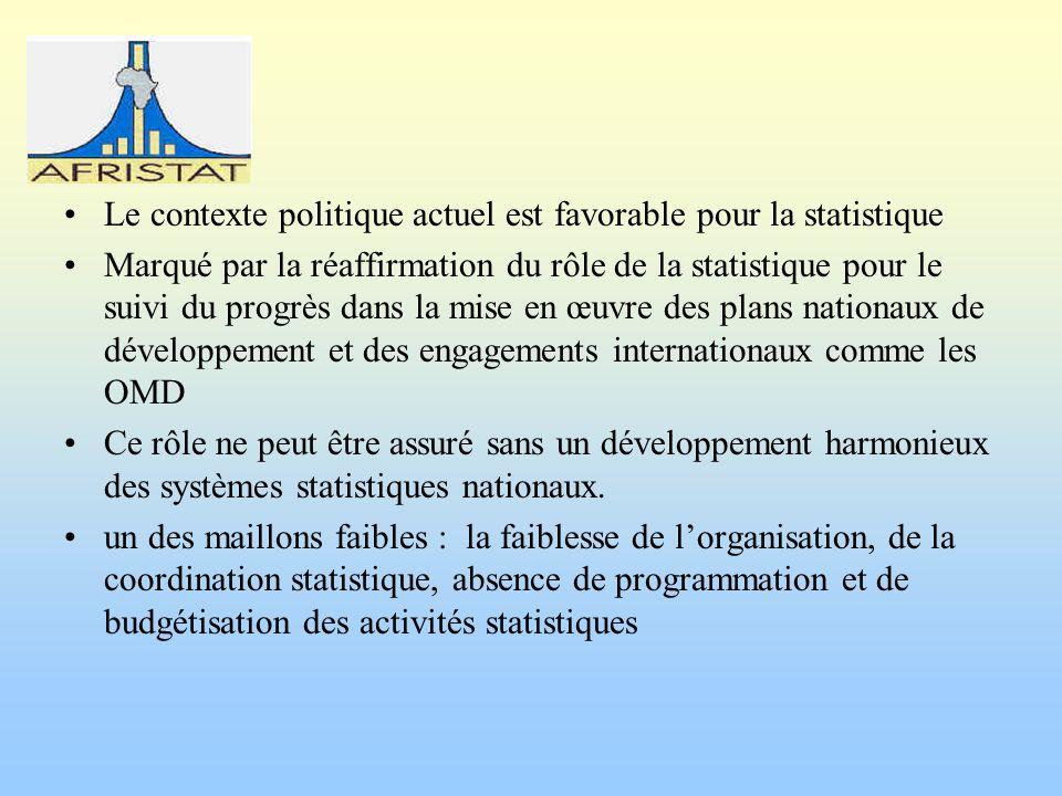 Le contexte politique actuel est favorable pour la statistique Marqué par la réaffirmation du rôle de la statistique pour le suivi du progrès dans la mise en œuvre des plans nationaux de développement et des engagements internationaux comme les OMD Ce rôle ne peut être assuré sans un développement harmonieux des systèmes statistiques nationaux.