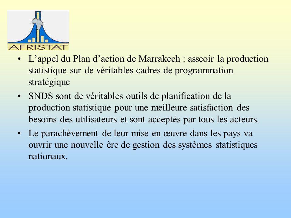 Lappel du Plan daction de Marrakech : asseoir la production statistique sur de véritables cadres de programmation stratégique SNDS sont de véritables
