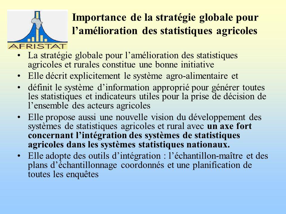 Importance de la stratégie globale pour lamélioration des statistiques agricoles La stratégie globale pour lamélioration des statistiques agricoles et