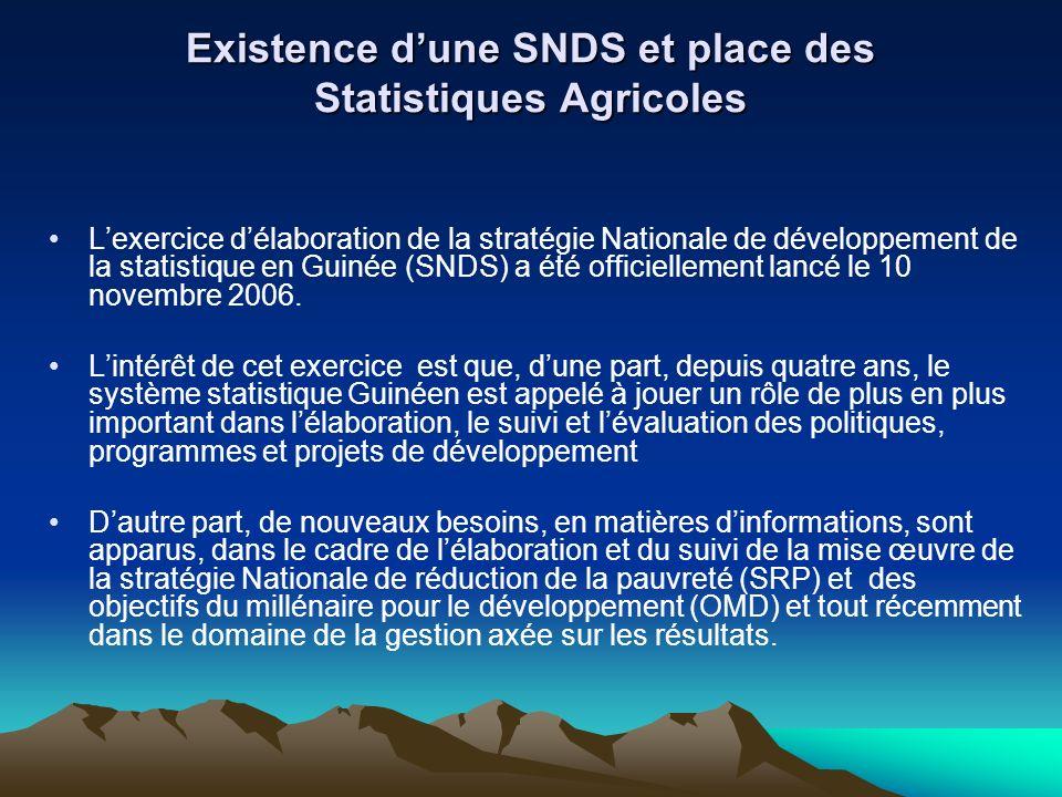 Existence dune SNDS et place des Statistiques Agricoles Lexercice délaboration de la stratégie Nationale de développement de la statistique en Guinée