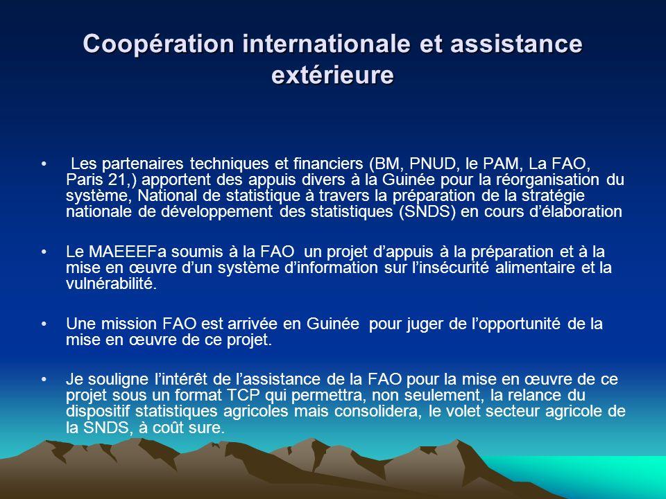 Coopération internationale et assistance extérieure Les partenaires techniques et financiers (BM, PNUD, le PAM, La FAO, Paris 21,) apportent des appui