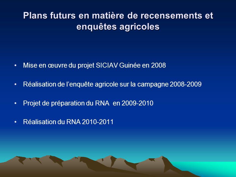 Plans futurs en matière de recensements et enquêtes agricoles Mise en œuvre du projet SICIAV Guinée en 2008 Réalisation de lenquête agricole sur la ca