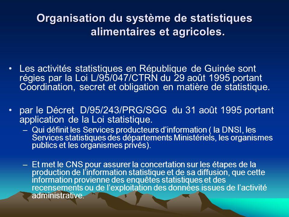 Organisation du système de statistiques alimentaires et agricoles. Les activités statistiques en République de Guinée sont régies par la Loi L/95/047/