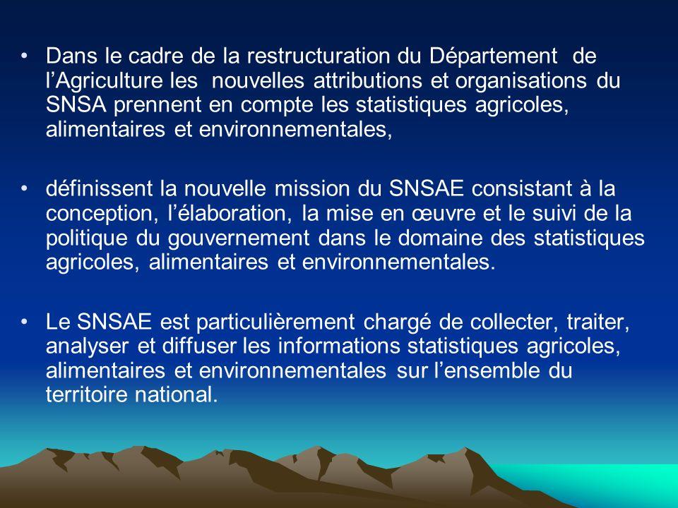 Dans le cadre de la restructuration du Département de lAgriculture les nouvelles attributions et organisations du SNSA prennent en compte les statisti