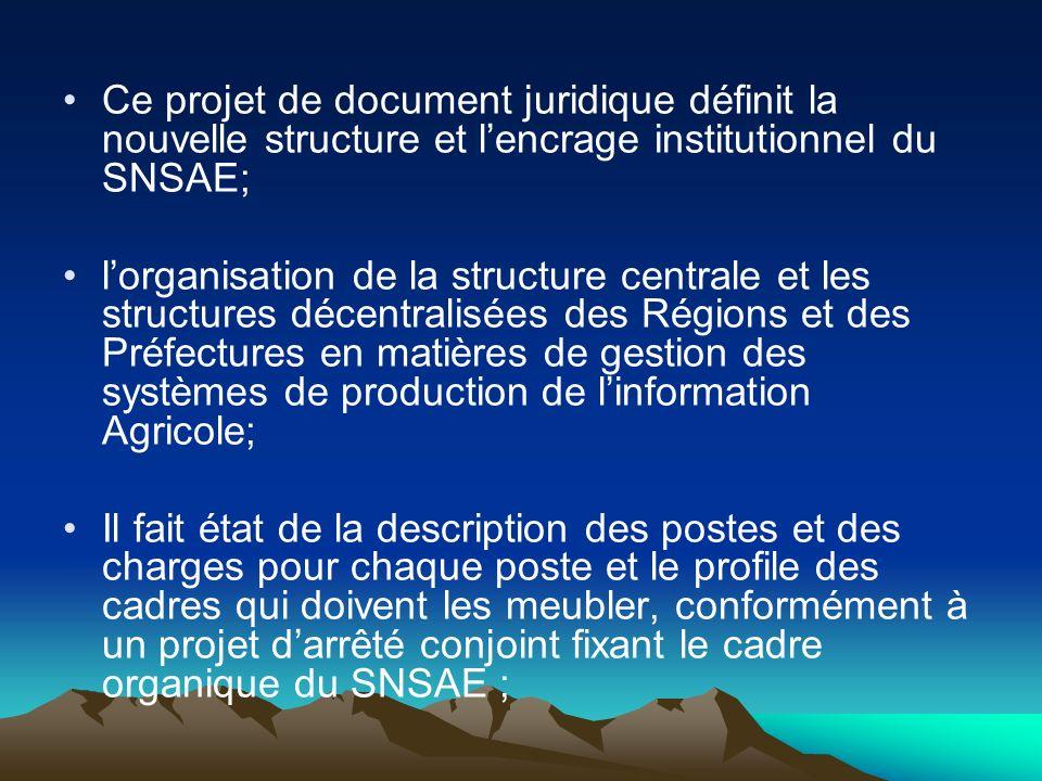 Ce projet de document juridique définit la nouvelle structure et lencrage institutionnel du SNSAE; lorganisation de la structure centrale et les struc