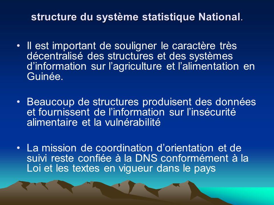 structure du système statistique National. Il est important de souligner le caractère très décentralisé des structures et des systèmes dinformation su