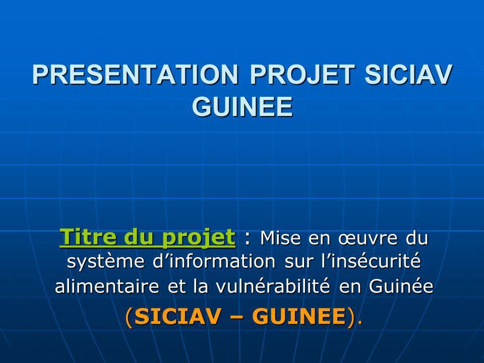 PRESENTATION PROJET SICIAV GUINEE Titre du projet : Mise en œuvre du système dinformation sur linsécurité alimentaire et la vulnérabilité en Guinée (S