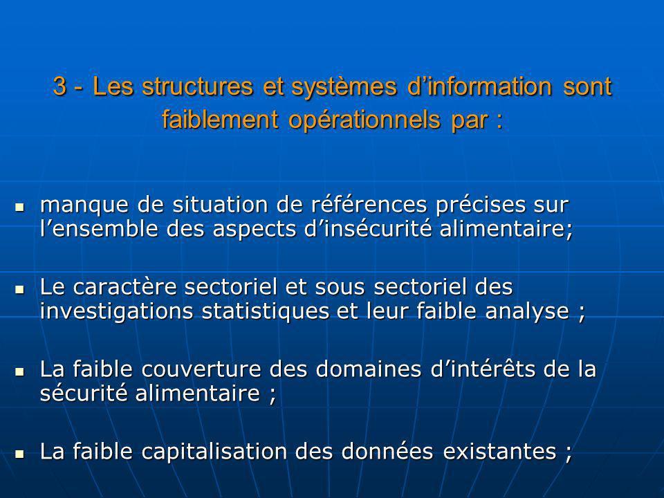 3 - Les structures et systèmes dinformation sont faiblement opérationnels par : manque de situation de références précises sur lensemble des aspects d