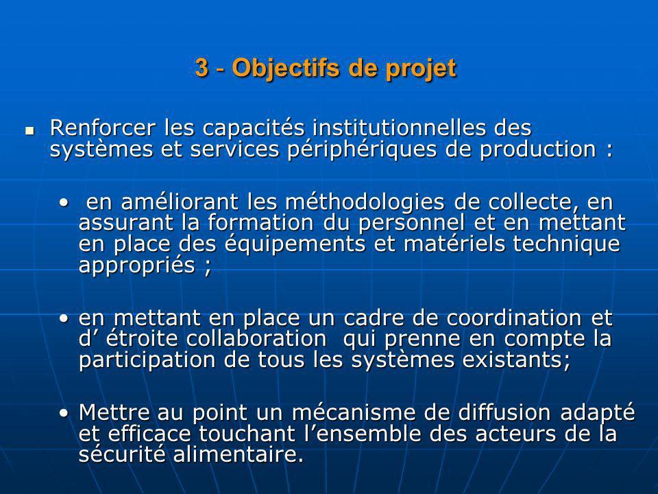 4 - Localisation : Le projet sera localisé au BC/SNSA avec le développement des volets de collecte au niveau des coordinations Régionales et au niveau des coordinations Préfectorales des statistiques agricoles.