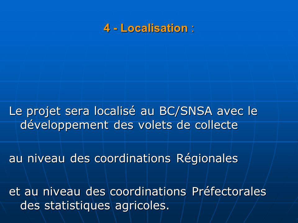 4 - Localisation : Le projet sera localisé au BC/SNSA avec le développement des volets de collecte au niveau des coordinations Régionales et au niveau