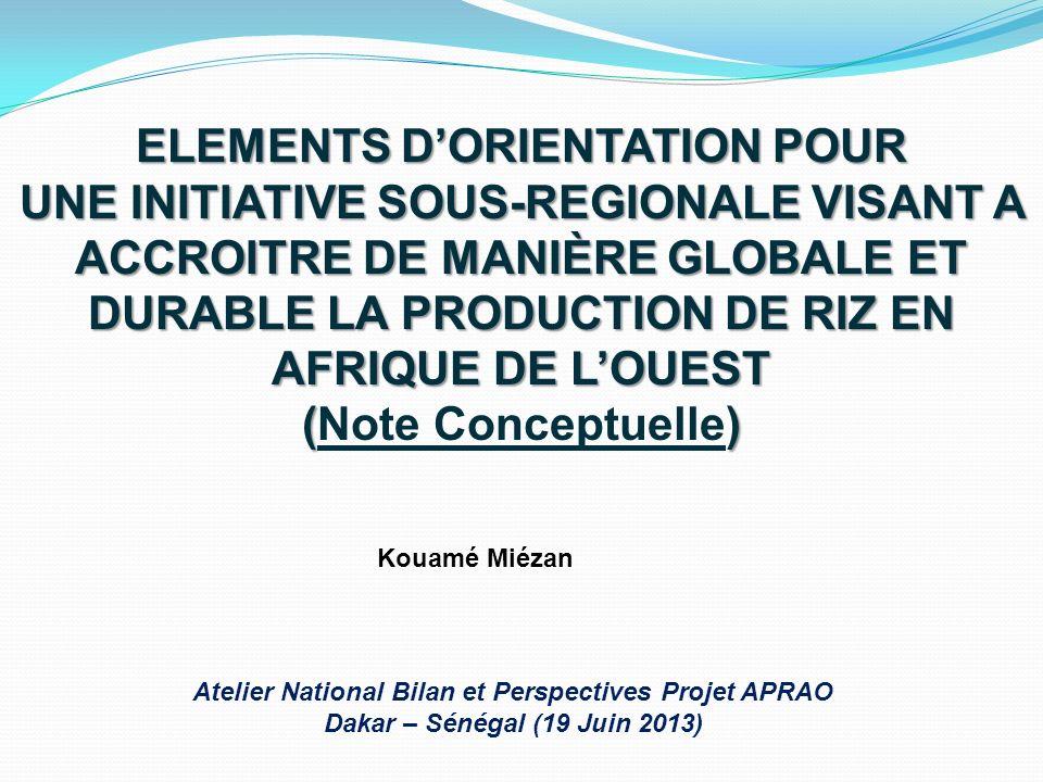 PLAN DE PRESENTATION Contexte de la production de riz en A.O.