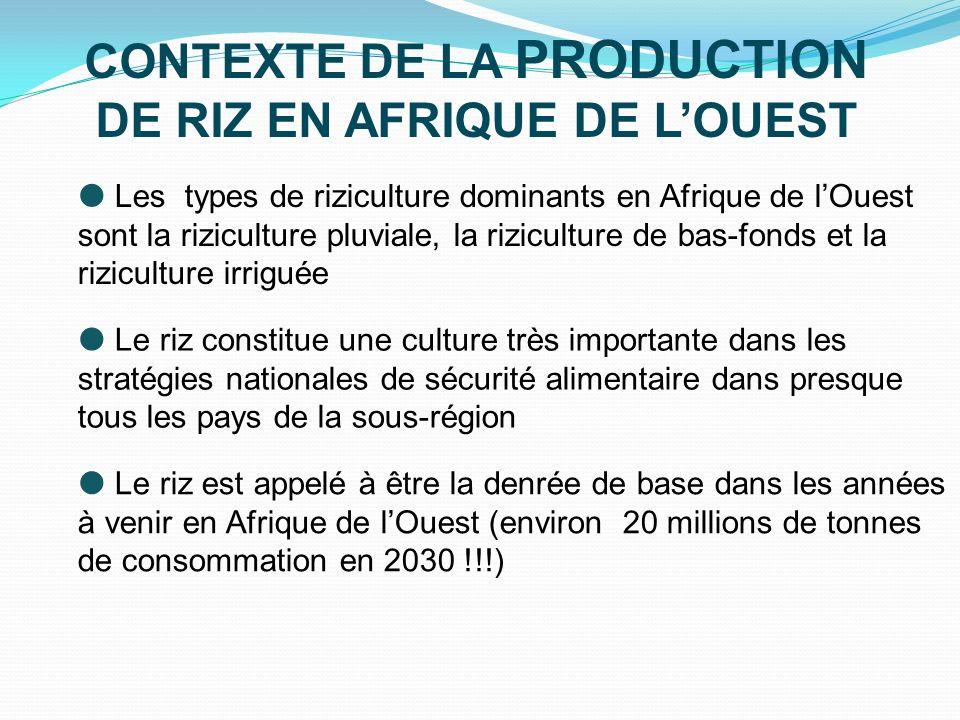 JUSTIFICATIONS POUR UNE INITIATIVE SOUS-REGIONALE le riz constitue une source importante demplois, de revenu et un moteur principal pour la réduction de la pauvreté en Afrique de lOuest Les actions menées dans la sous-région pour laugmentation de la production de riz sont limitées à des initiatives souvent isolées et indépendantes des unes des autres et manquant defficacité réelle Une initiative sous-régionale permettrait d exploiter les complémentarités et les synergies potentielles entre les pays pour plus defficacité dans les interventions aussi bien nationales que régionales