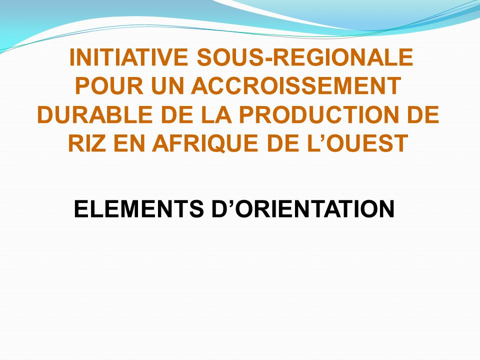 INITIATIVE SOUS-REGIONALE POUR UN ACCROISSEMENT DURABLE DE LA PRODUCTION DE RIZ EN AFRIQUE DE LOUEST ELEMENTS DORIENTATION