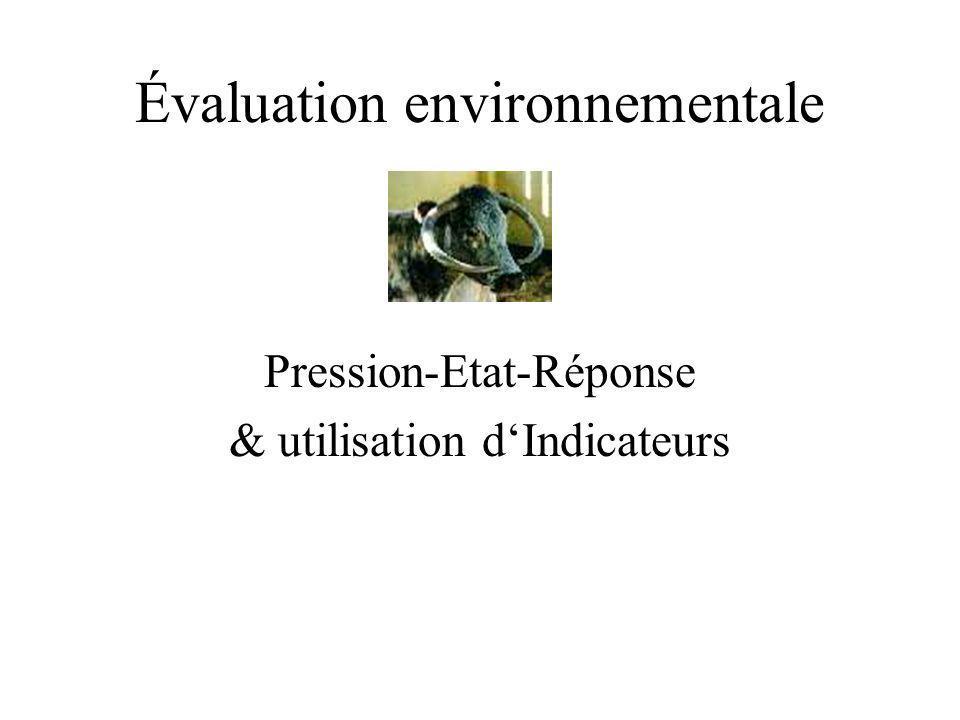 État Condition (spécifique à l environnement) qui résulte des pressions, comme p.