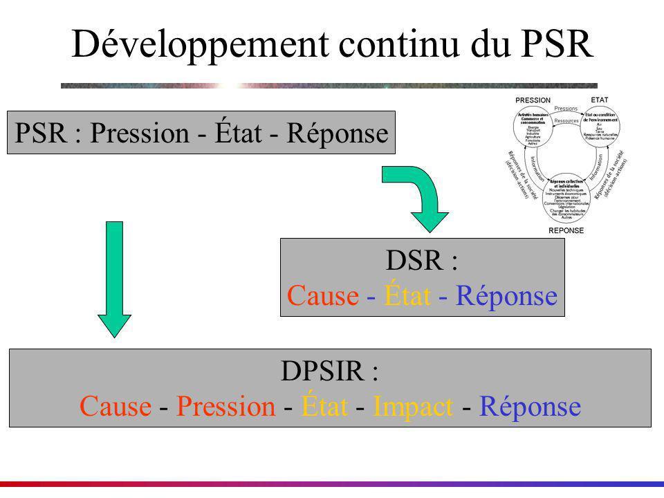 Développement continu du PSR PSR : Pression - État - Réponse DSR : Cause - État - Réponse DPSIR : Cause - Pression - État - Impact - Réponse