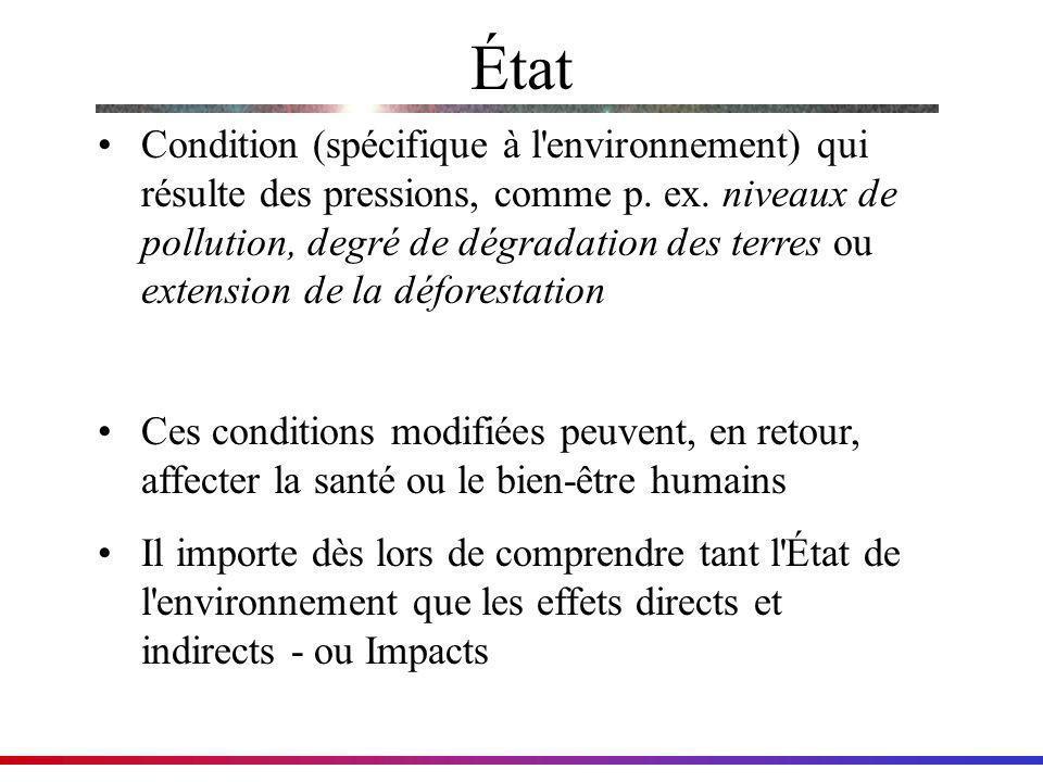État Condition (spécifique à l'environnement) qui résulte des pressions, comme p. ex. niveaux de pollution, degré de dégradation des terres ou extensi