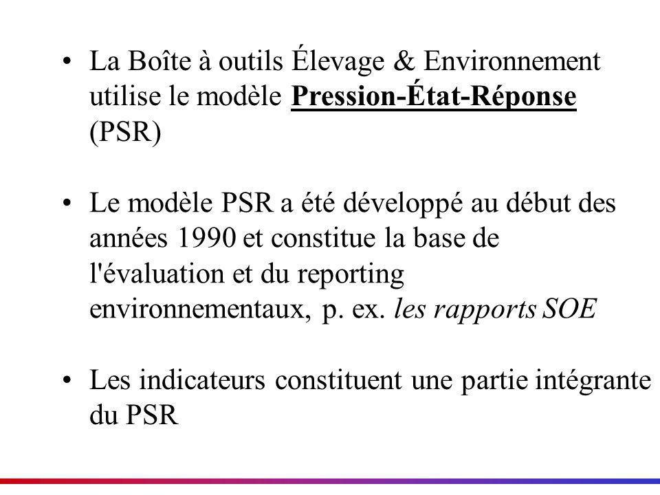 La Boîte à outils Élevage & Environnement utilise le modèle Pression-État-Réponse (PSR) Le modèle PSR a été développé au début des années 1990 et cons