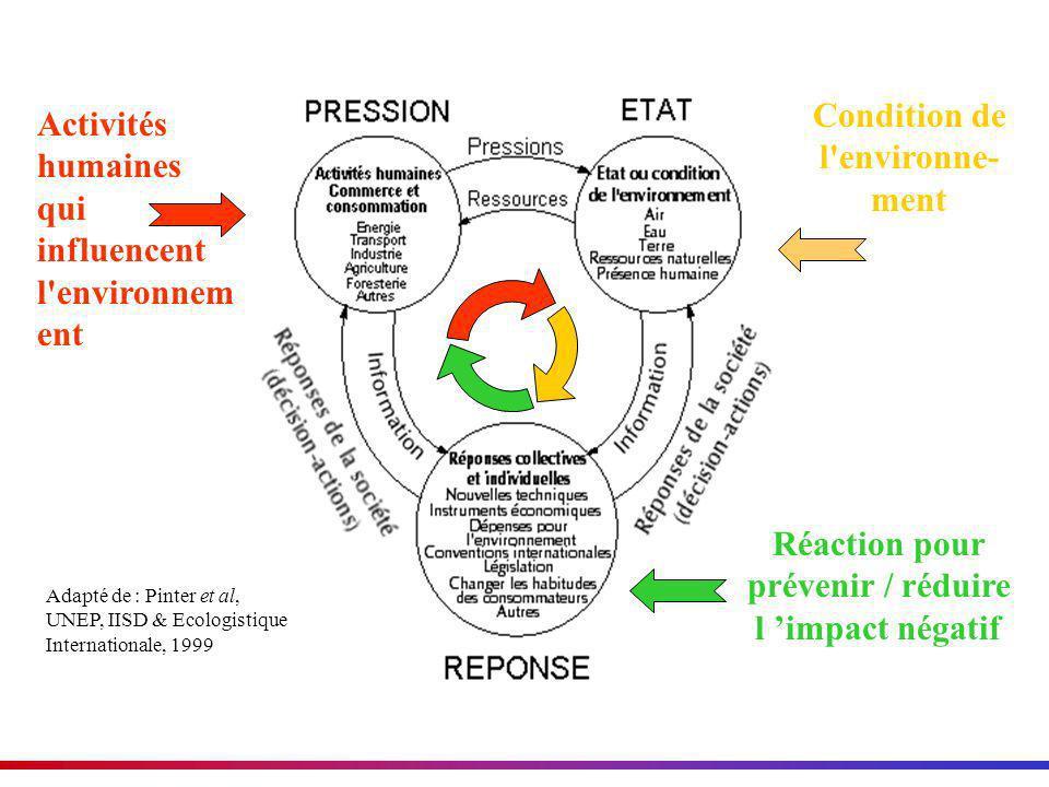 Adapté de : Pinter et al, UNEP, IISD & Ecologistique Internationale, 1999 Activités humaines qui influencent l'environnem ent Condition de l'environne
