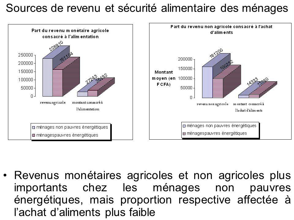 Sources de revenu et sécurité alimentaire des ménages Revenus monétaires agricoles et non agricoles plus importants chez les ménages non pauvres énergétiques, mais proportion respective affectée à lachat daliments plus faible
