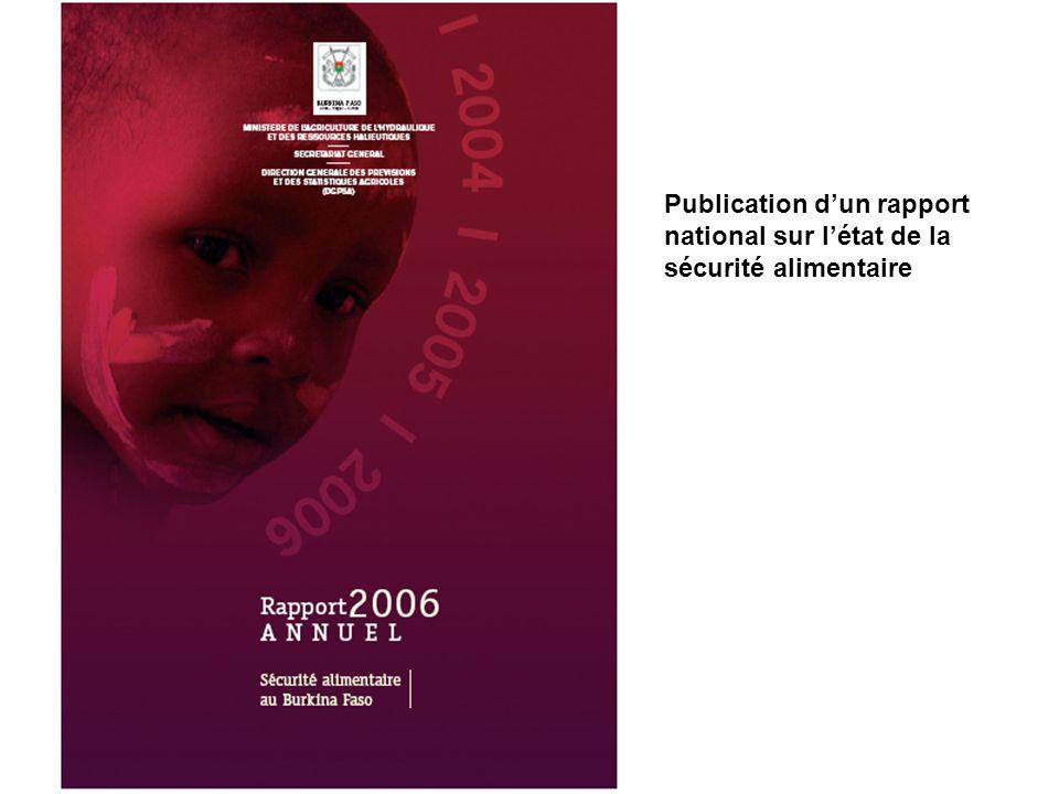 Publication dun rapport national sur létat de la sécurité alimentaire