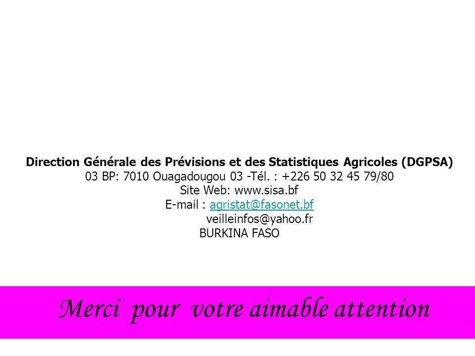 Merci pour votre aimable attention Direction Générale des Prévisions et des Statistiques Agricoles (DGPSA) 03 BP: 7010 Ouagadougou 03 -Tél.