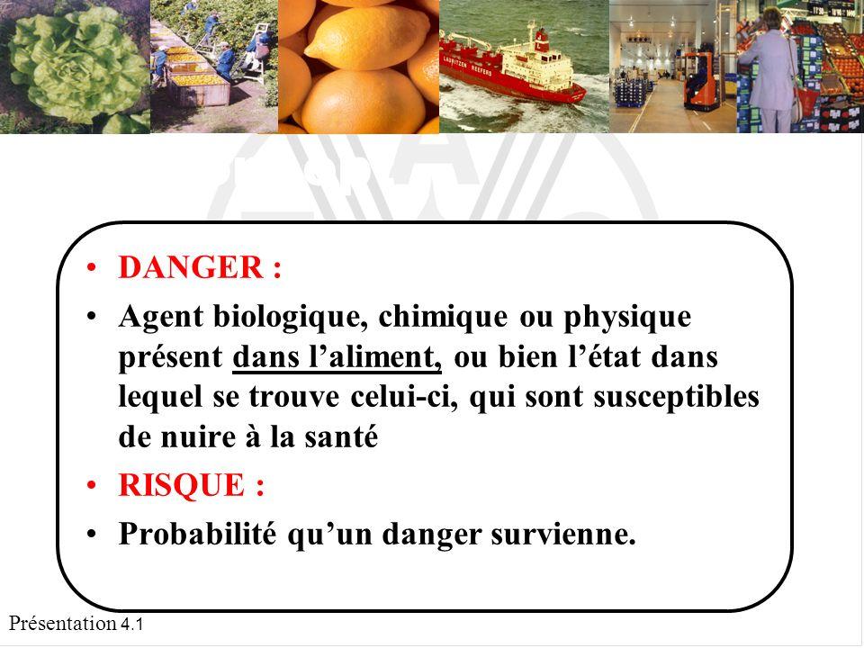 Présentation 4.1 Le concept DANGER : Agent biologique, chimique ou physique présent dans laliment, ou bien létat dans lequel se trouve celui-ci, qui sont susceptibles de nuire à la santé.