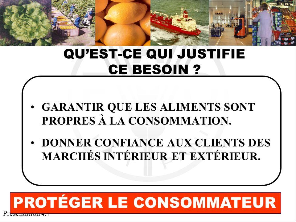 Présentation 4.1 GARANTIR QUE LES ALIMENTS SONT PROPRES À LA CONSOMMATION.