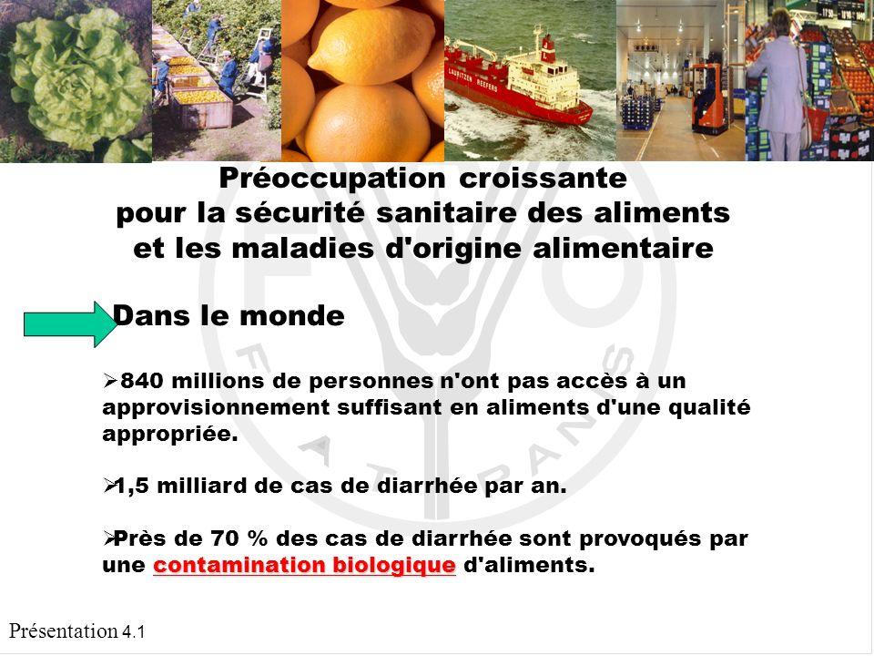 Présentation 4.1 LA RESPONSABILITÉ DE L ÉTAT Protéger les consommateurs contre les maladies et les accidents d origine alimentaire Sensibiliser les différents intervenants de la filière alimentaire sur les systèmes d assurance de l innocuité