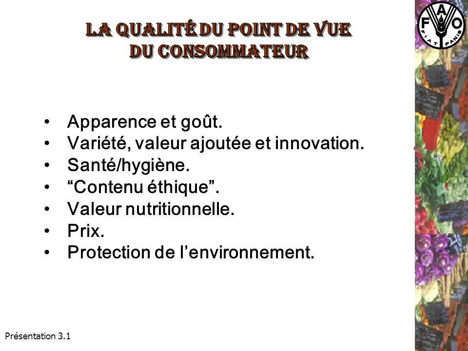 Présentation 3.1 Apparence et goût. Variété, valeur ajoutée et innovation.