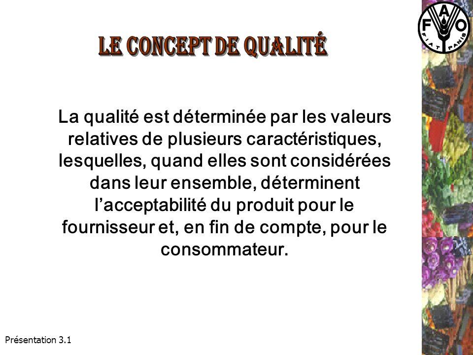 Présentation 3.1 La qualité est déterminée par les valeurs relatives de plusieurs caractéristiques, lesquelles, quand elles sont considérées dans leur ensemble, déterminent lacceptabilité du produit pour le fournisseur et, en fin de compte, pour le consommateur.