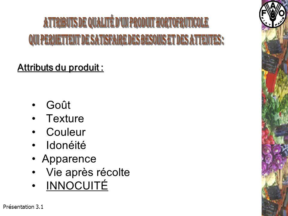 Attributs du produit : Goût Texture Couleur Idonéité Apparence Vie après récolte INNOCUITÉ