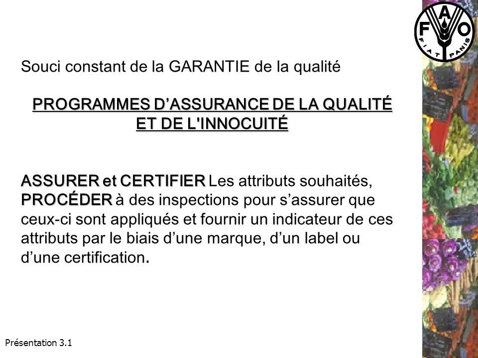Souci constant de la GARANTIE de la qualité PROGRAMMES DASSURANCE DE LA QUALITÉ ET DE L INNOCUITÉ ASSURER et CERTIFIER PROCÉDER ASSURER et CERTIFIER Les attributs souhaités, PROCÉDER à des inspections pour sassurer que ceux-ci sont appliqués et fournir un indicateur de ces attributs par le biais dune marque, dun label ou dune certification.