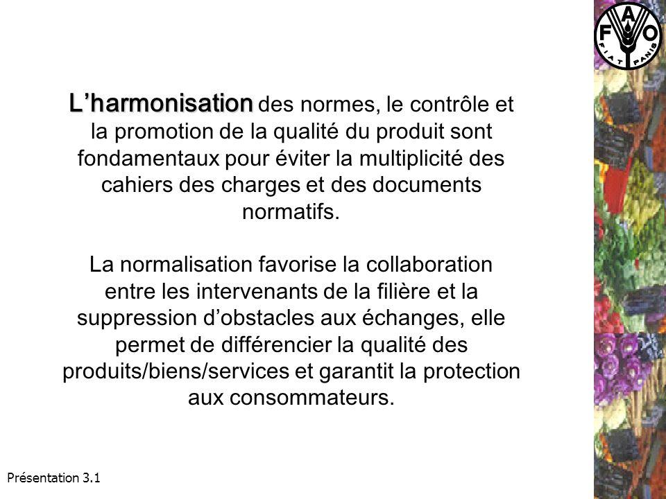 Présentation 3.1 Lharmonisation Lharmonisation des normes, le contrôle et la promotion de la qualité du produit sont fondamentaux pour éviter la multiplicité des cahiers des charges et des documents normatifs.
