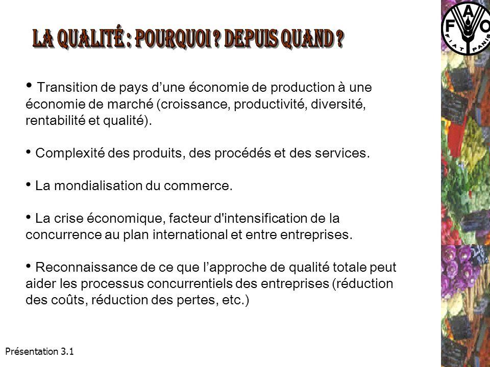Présentation 3.1 Transition de pays dune économie de production à une économie de marché (croissance, productivité, diversité, rentabilité et qualité).