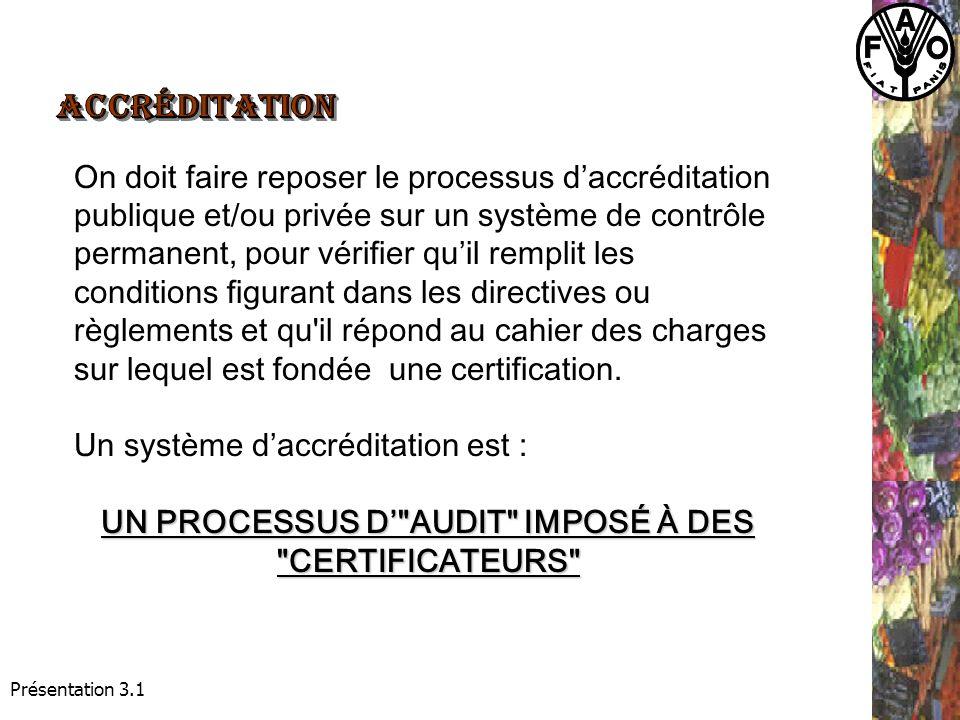 Présentation 3.1 On doit faire reposer le processus daccréditation publique et/ou privée sur un système de contrôle permanent, pour vérifier quil remplit les conditions figurant dans les directives ou règlements et qu il répond au cahier des charges sur lequel est fondée une certification.