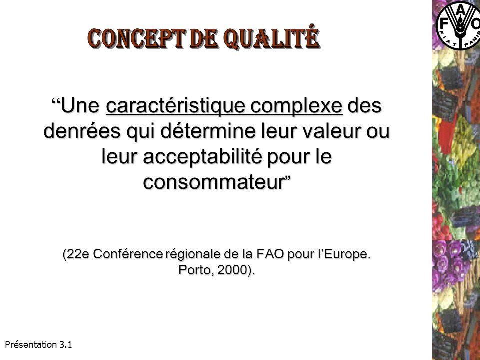 Présentation 3.1 Une caractéristique complexe des denrées qui détermine leur valeur ou leur acceptabilité pour le Une caractéristique complexe des denrées qui détermine leur valeur ou leur acceptabilité pour le consommateur consommateur (22e Conférence régionale de la FAO pour lEurope.