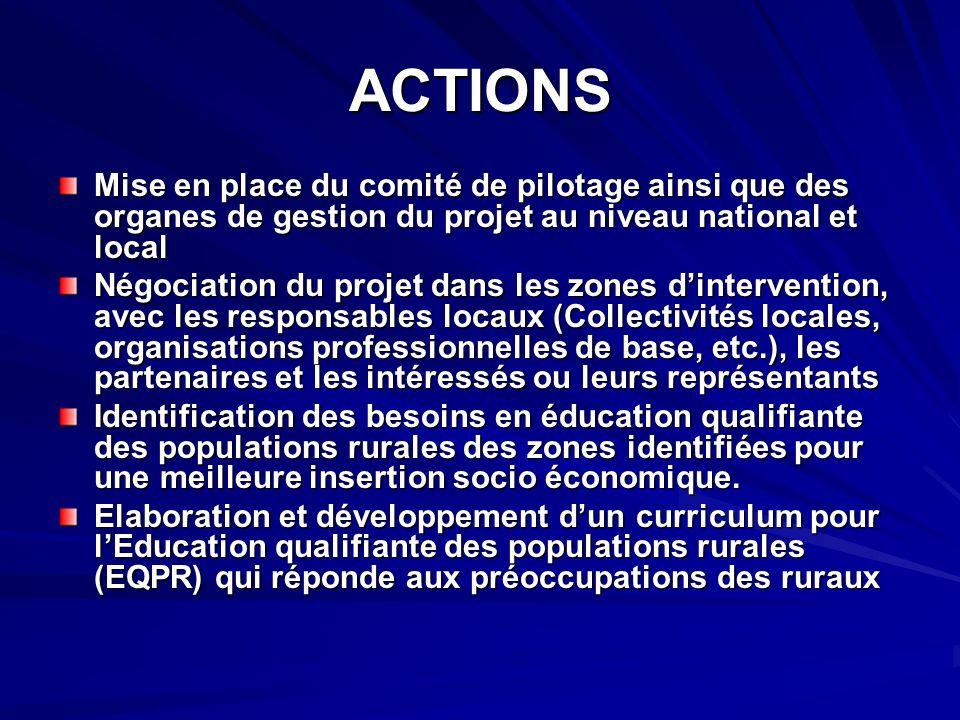 ACTIONS Mise en place du comité de pilotage ainsi que des organes de gestion du projet au niveau national et local Négociation du projet dans les zone