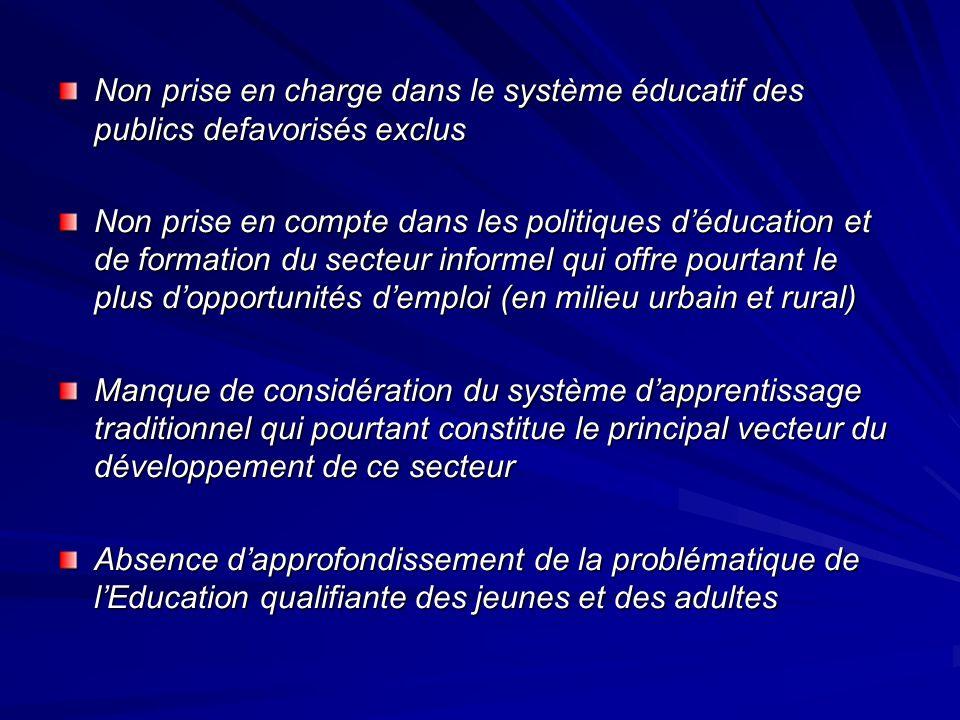 Non prise en charge dans le système éducatif des publics defavorisés exclus Non prise en compte dans les politiques déducation et de formation du sect