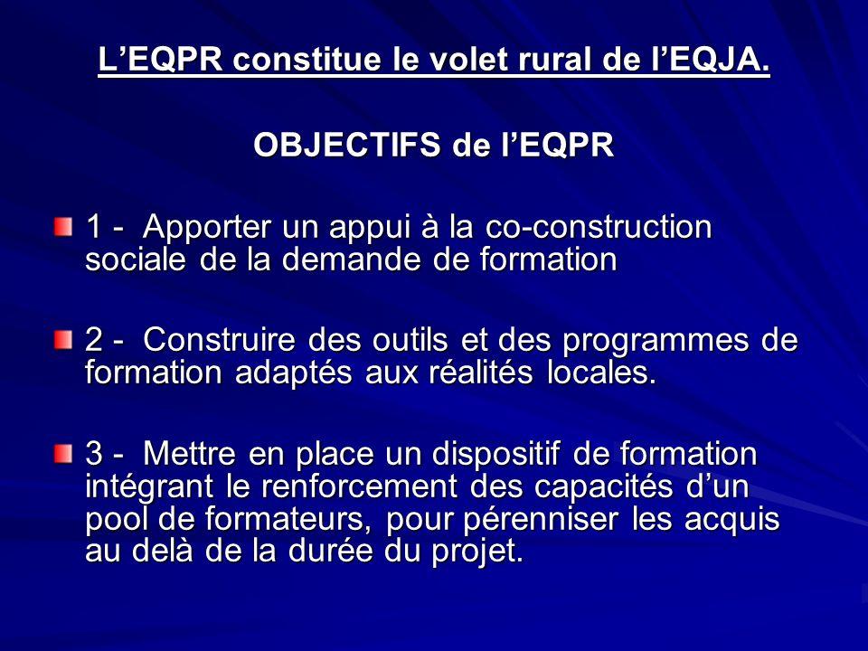 LEQPR constitue le volet rural de lEQJA. OBJECTIFS de lEQPR 1 - Apporter un appui à la co-construction sociale de la demande de formation 2 - Construi