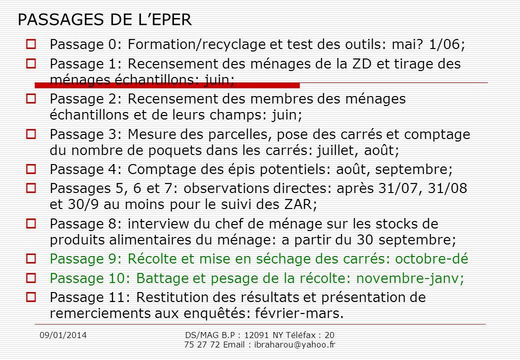 09/01/2014DS/MAG B.P : 12091 NY Téléfax : 20 75 27 72 Email : ibraharou@yahoo.fr PASSAGES DE LEPER Passage 0: Formation/recyclage et test des outils: