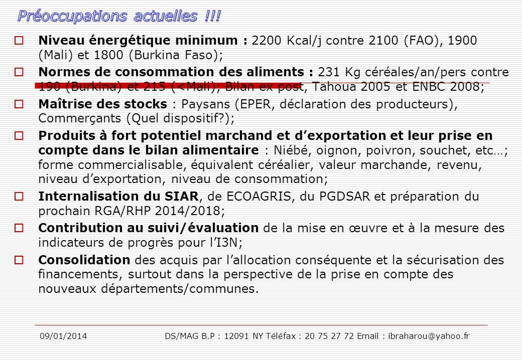 09/01/2014DS/MAG B.P : 12091 NY Téléfax : 20 75 27 72 Email : ibraharou@yahoo.fr Niveau énergétique minimum : 2200 Kcal/j contre 2100 (FAO), 1900 (Mal
