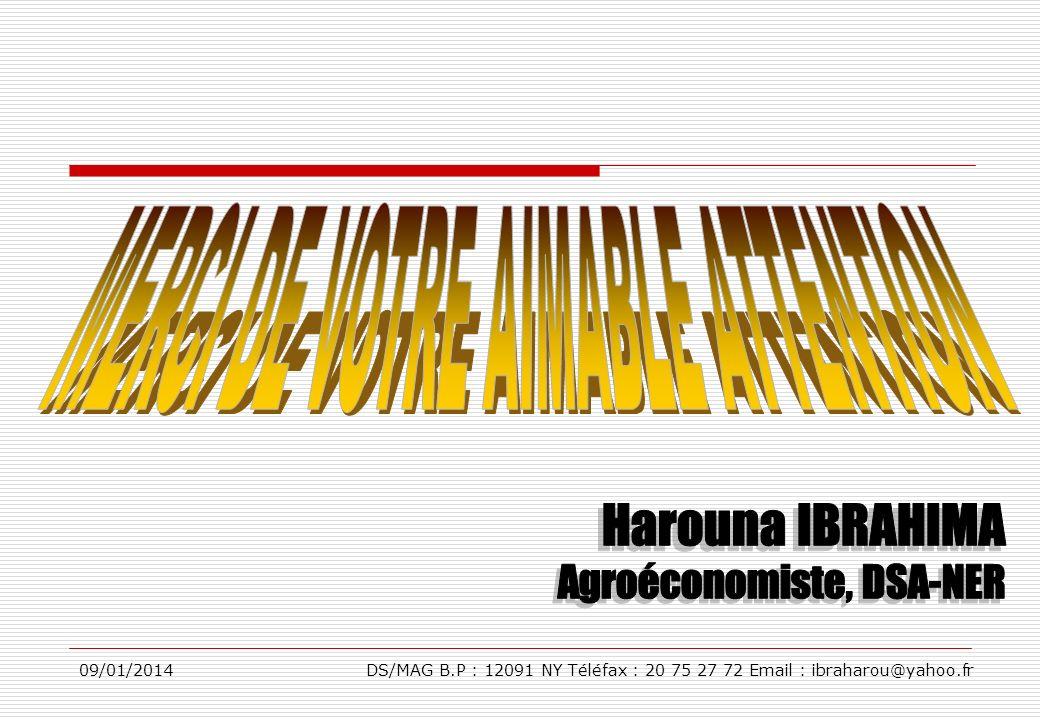 09/01/2014DS/MAG B.P : 12091 NY Téléfax : 20 75 27 72 Email : ibraharou@yahoo.fr