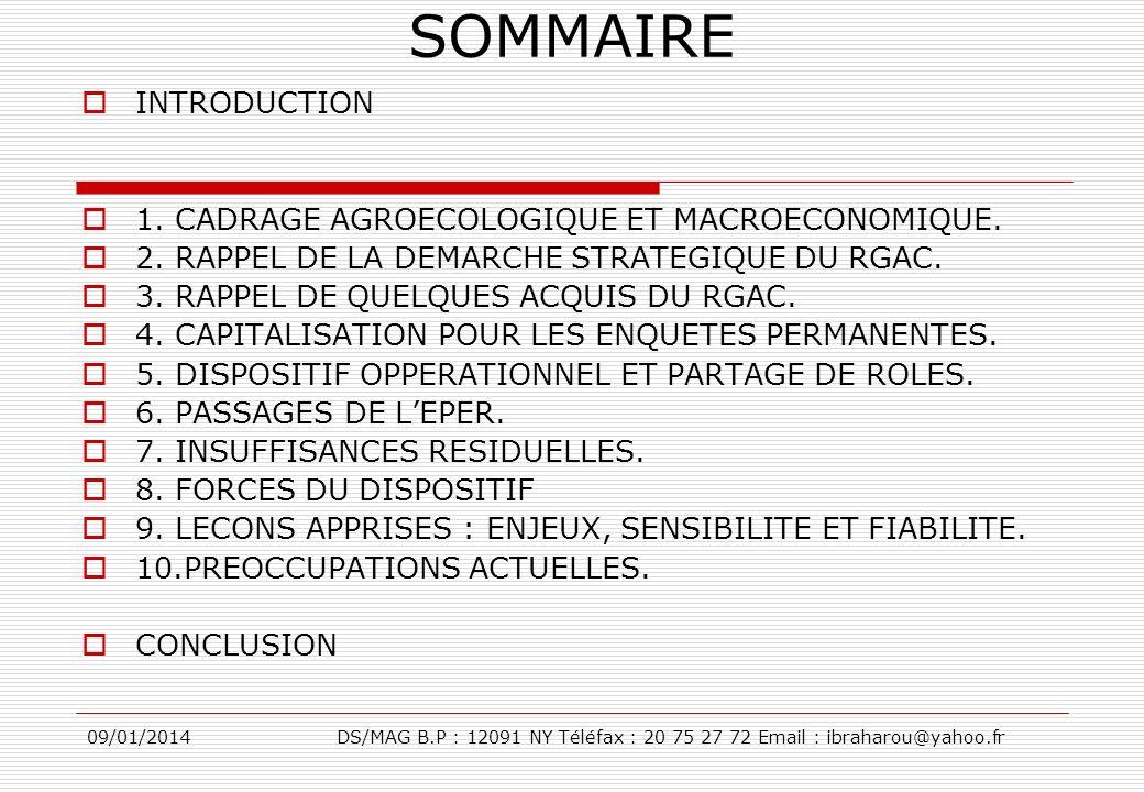09/01/2014DS/MAG B.P : 12091 NY Téléfax : 20 75 27 72 Email : ibraharou@yahoo.fr SOMMAIRE INTRODUCTION 1. CADRAGE AGROECOLOGIQUE ET MACROECONOMIQUE. 2