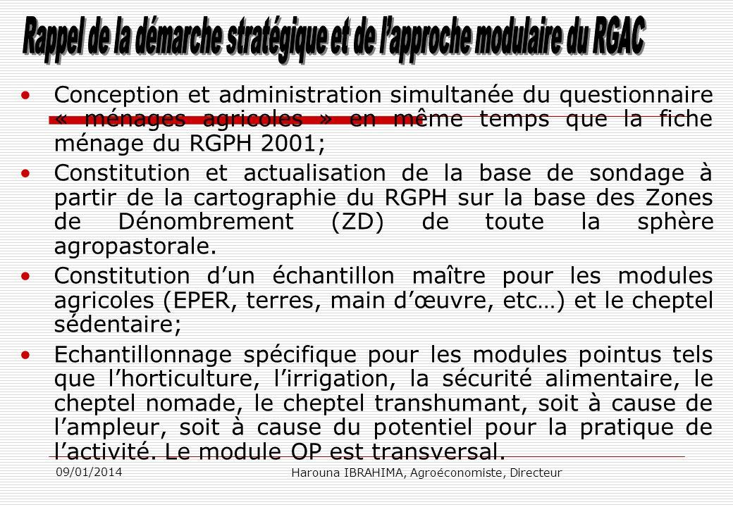 Conception et administration simultanée du questionnaire « ménages agricoles » en même temps que la fiche ménage du RGPH 2001; Constitution et actuali