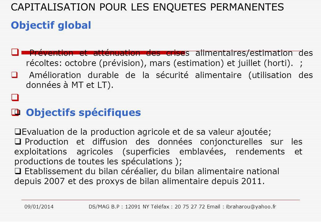 09/01/2014DS/MAG B.P : 12091 NY Téléfax : 20 75 27 72 Email : ibraharou@yahoo.fr CAPITALISATION POUR LES ENQUETES PERMANENTES Objectif global Préventi