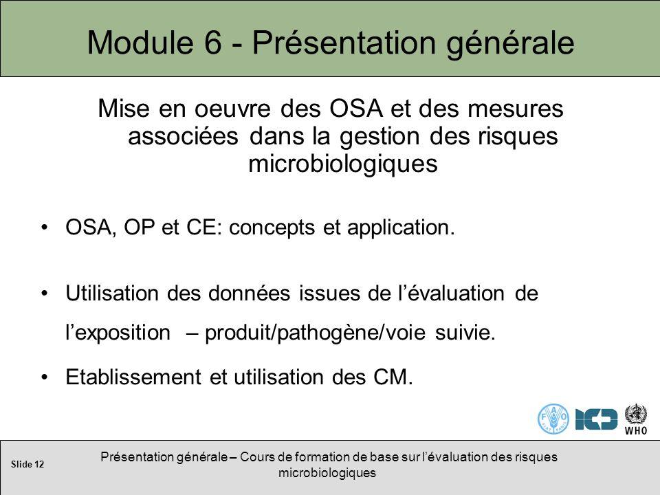 Slide 12 Présentation générale – Cours de formation de base sur lévaluation des risques microbiologiques Module 6 - Présentation générale Mise en oeuvre des OSA et des mesures associées dans la gestion des risques microbiologiques OSA, OP et CE: concepts et application.