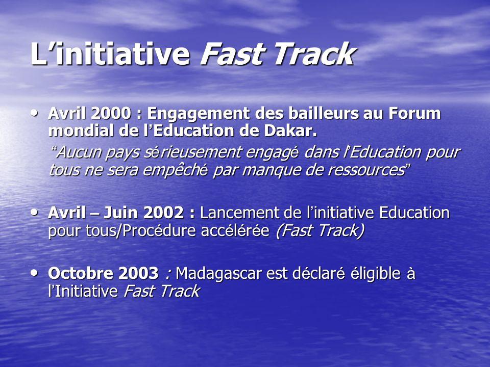LE FINANCEMENT DU PLAN EDUCATION POUR TOUS LInitiative Fast Track Le Fonds catalytique