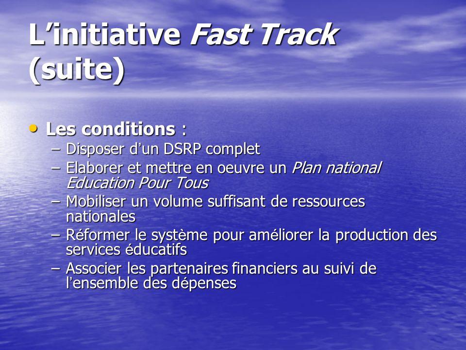 Linitiative Fast Track Avril 2000 : Engagement des bailleurs au Forum mondial de l Education de Dakar. Avril 2000 : Engagement des bailleurs au Forum