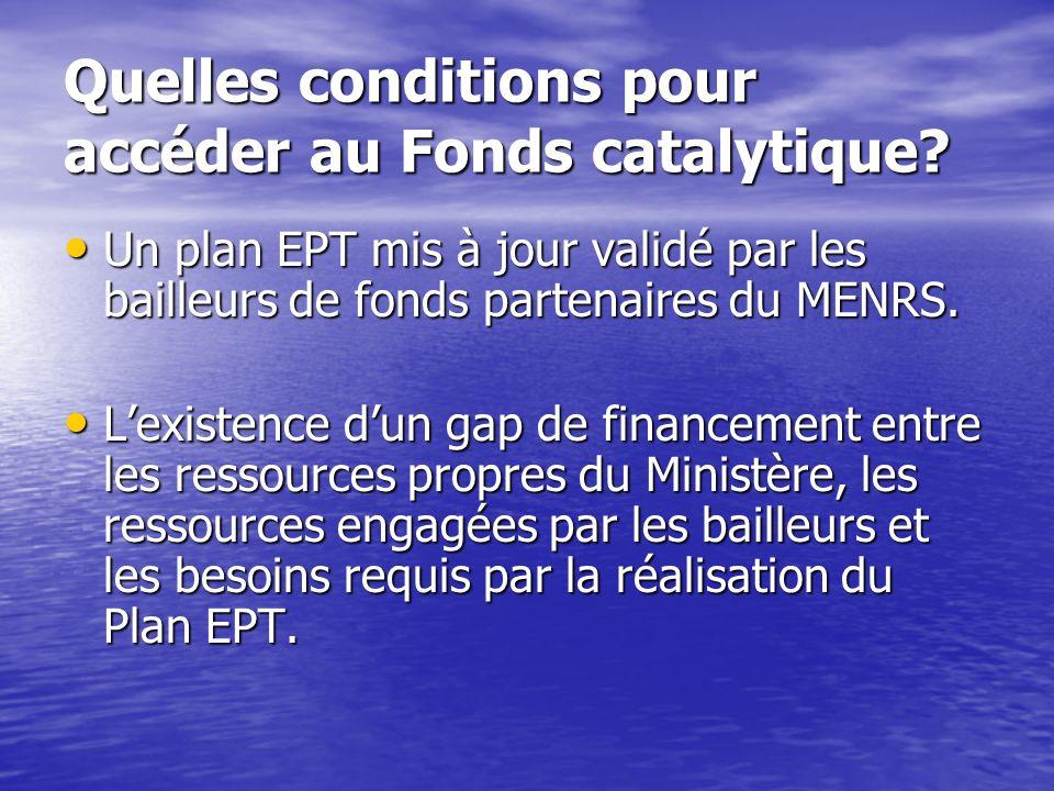 Le Fonds Catalytique Un fonds non-remboursable géré par le Secrétariat de lInitiative Fast Track Un fonds non-remboursable géré par le Secrétariat de